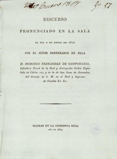 Discurso pronunciado en la Sala el dia 2 de enero de 1817