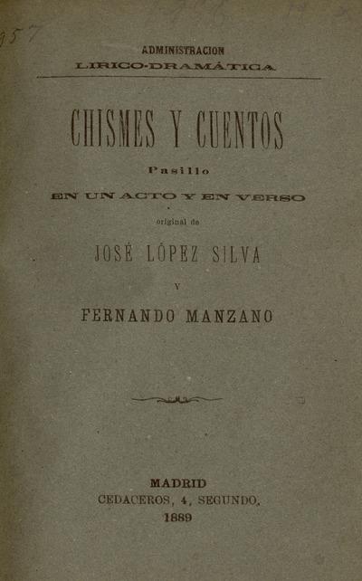 Chismes y cuentos : pasillo en un acto y en verso