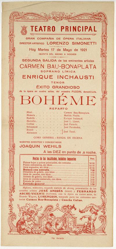 Teatro Principal [Zaragoza] : martes 17 de mayo de 1921 ... ópera en cuatro actos del maestro [Giacomo] Puccini, denominada Bohéme [sic]