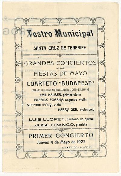 Teatro Municipal de Santa Cruz de Tenerife : grandes conciertos de las fiestas de mayo : primer concierto