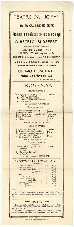 Teatro Municipal de Santa Cruz de Tenerife : grandes conciertos de las fiestas de mayo : último concierto