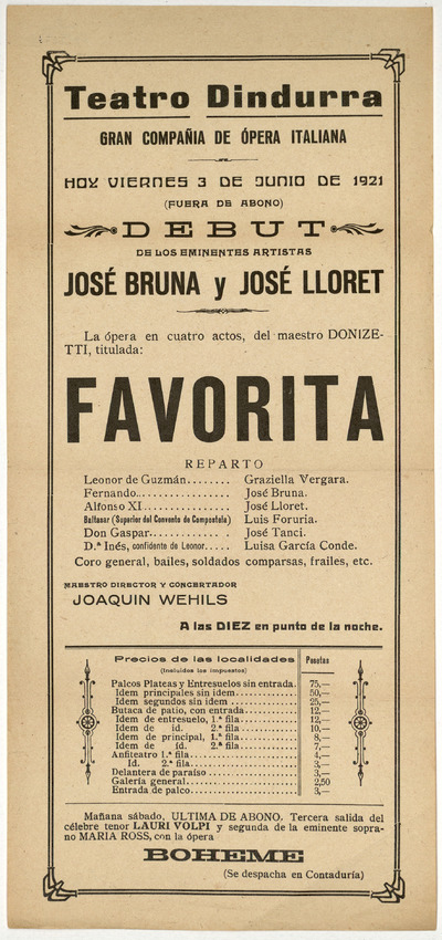 Teatro Dindurra [Gijón] : viernes 3 de junio de 1921 ... : ópera en cuatro actos del maestro Donizetti, titulada Favorita [sic]