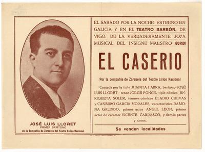 Teatro Barbón [Vigo] : estreno de la verdaderamente joya musical [sic] del insigne maestro [Jesús] Guridi El caserío