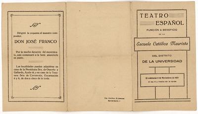 Teatro Español : función a beneficio de la Escuela Católica Maurista del distrito de la Universidad ... miércoles 9 de noviembre de 1921