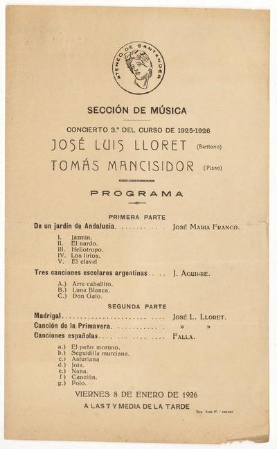 Ateneo de Santander : Sección de Música : concierto 3º del curso de 1925-1926