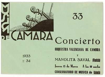 Conservatorio de Música de Valencia : música de cámara : concierto Orquestra Valenciana de Cambra y Manolita Saval ... concierto Manuel Pomares ... Rafael Sorni ...