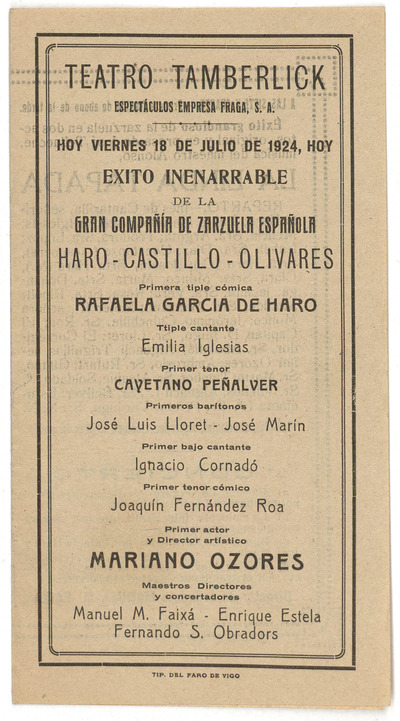 Teatro Tamberlick [Vigo] : viernes 18 de julio de 1924 ... zarzuela ... original de José Tellaeche, música del maestro [Francisco] Alonso, La linda tapada. ... ópera original de [Francisco] Camprodón, música del maestro [Emilio] Arrieta Marina
