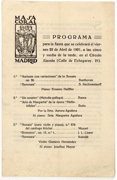 Masa Coral de Madrid : programa para la fiesta que se celebrará el viernes 22 de abril de 1921 ... en el Círculo Alemán ...
