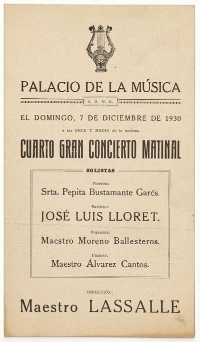 Palacio de la Música : domingo 7 de diciembre de 1930 ... gran concierto matinal ...