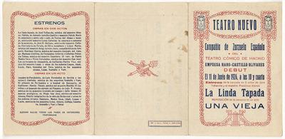 Teatro Nuevo [Barcelona] : 11 de junio de 1924 ... estreno de la zarzuela ... de José Tellaeche y el maestro Francisco Alonso La linda tapada ...