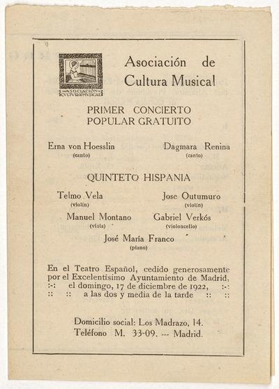 Asociación de Cultura Musical : primer concierto popular gratuito ... en el Teatro Español ... el domingo 17 de diciembre de 1922