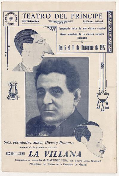 Teatro del Príncipe : San Sebastián : temporada lírica de arte clásico español ... del 6 al 11 de diciembre de 1927