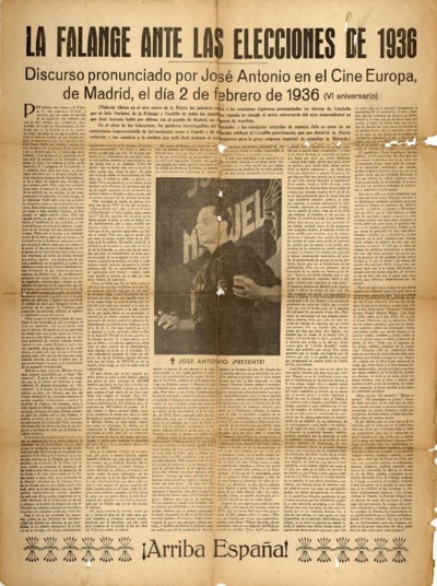 La Falange ante las elecciones de 1936 : discurso pronunciado por José Antonio en el Cine Europa, de Madrid el día 2 de febrero de 1936 (VI aniversario)