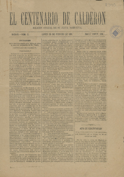 El Centenario de Calderón : boletín oficial de su junta directiva