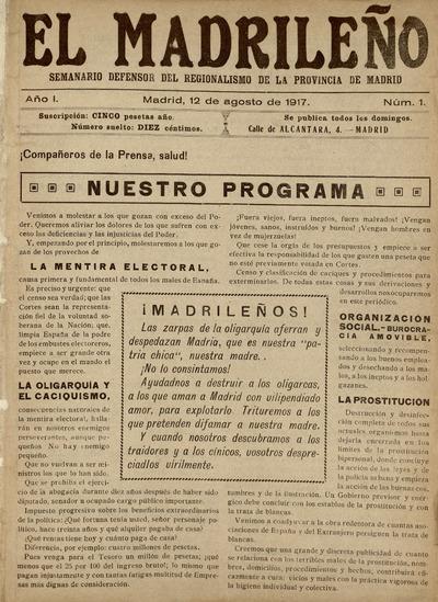 El Madrileño : semanario defensor del regionalismo de la provincia de Madrid