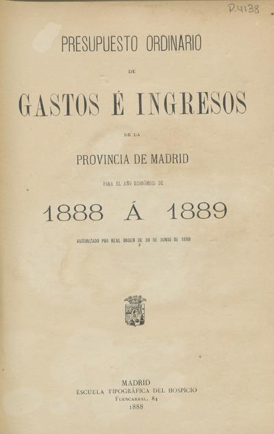 Presupuesto ordinario de gastos e ingresos de la provincia de Madrid para ...