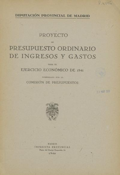 Proyecto de presupuesto ordinario de ingresos y gastos para el ejercicio económico de ...