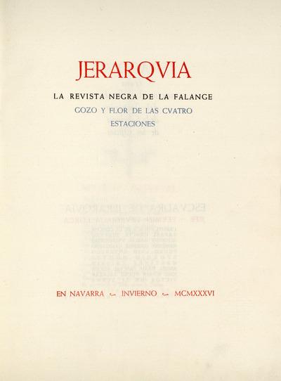 Jerarqvía : la revista negra de la Falange