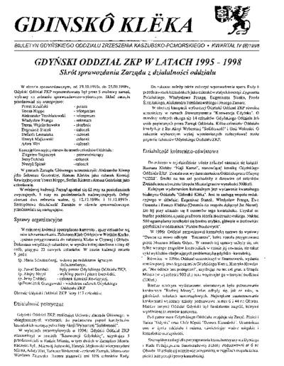 Gdinskô Klëka : biuletyn Gdyńskiego Oddziału Zrzeszenia Kaszubsko-Pomorskiego Kwartał IV Nr (8) 1998