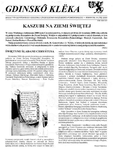 Gdinskô Klëka : biuletyn Gdyńskiego Oddziału Zrzeszenia Kaszubsko-Pomorskiego Kwartał IV Nr (16) 2000