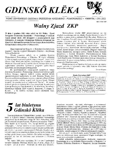 Gdinskô Klëka : biuletyn Gdyńskiego Oddziału Zrzeszenia Kaszubsko-Pomorskiego Kwartał I Nr (21) 2002