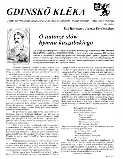 Gdinskô Klëka : biuletyn Gdyńskiego Oddziału Zrzeszenia Kaszubsko-Pomorskiego Kwartał II Nr (22) 2002