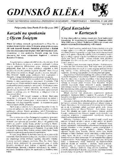 Gdinskô Klëka : biuletyn Gdyńskiego Oddziału Zrzeszenia Kaszubsko-Pomorskiego Kwartał IV Nr (24) 2002