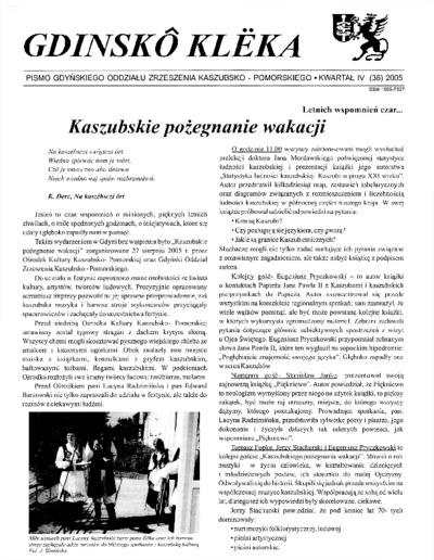 Gdinskô Klëka : biuletyn Gdyńskiego Oddziału Zrzeszenia Kaszubsko-Pomorskiego Kwartał IV Nr (36) 2005