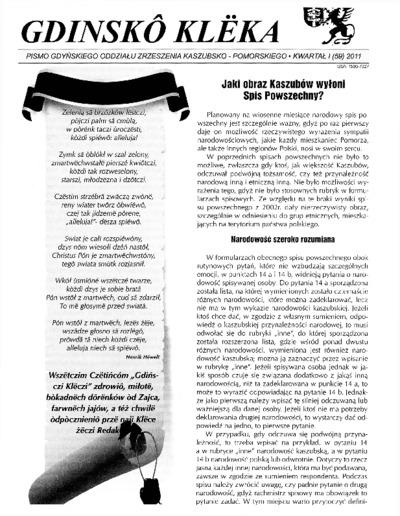 Gdinskô Klëka : Pismo Gdyńskiego Oddziału Zrzeszenia Kaszubsko-Pomorskiego Kwartał I Nr1 (59) 2011