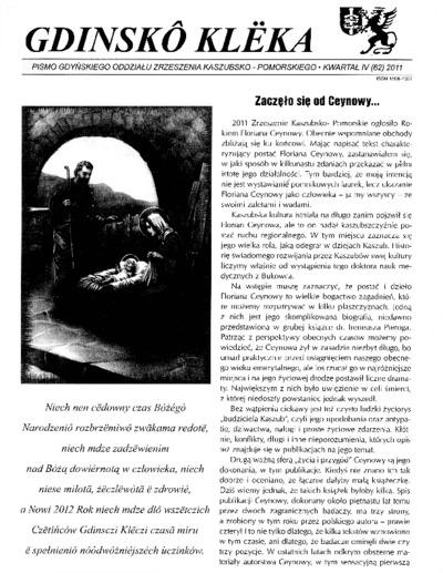 Gdinskô Klëka : Pismo Gdyńskiego Oddziału Zrzeszenia Kaszubsko-Pomorskiego Kwartał IV Nr4 (62) 2011