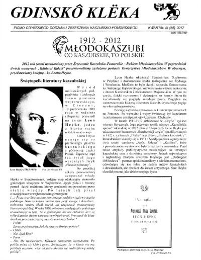 Gdinskô Klëka : Pismo Gdyńskiego Oddziału Zrzeszenia Kaszubsko-Pomorskiego Kwartał III Nr3 (65) 2012