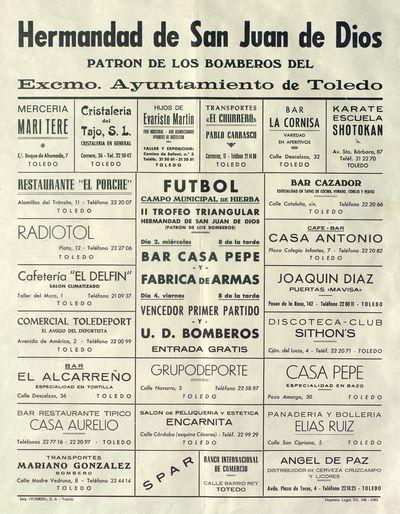 Fútbol [ [Material gráfico]: II Ttrofeo triangular Hermandad de San Juan de Dios (Patrón de los Bomberos).