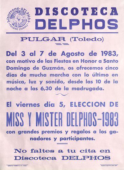 Discoteca Delphos [ [Material gráfico]: Pulgar (Toledo).