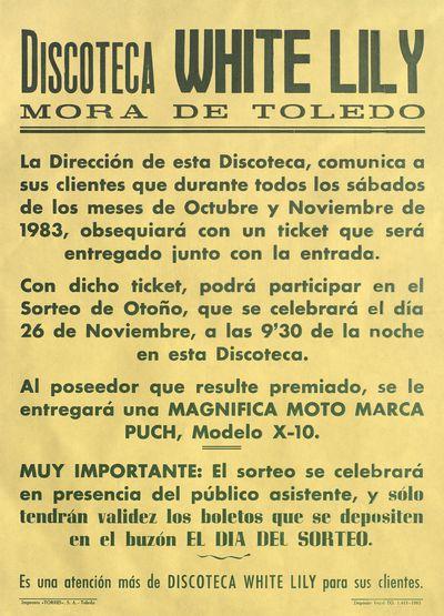 Discoteca White Lily, Mora de Toledo [ [Material gráfico]: Sorteo de otoño, 26 de noviembre.