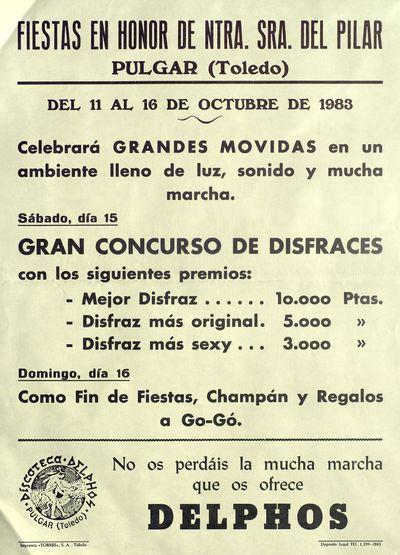 Fiestas en honor de Ntra. Sra. la Virgen del Pilar, Pulgar (Toledo) [ [Material gráfico]: del 11 al 16 de octubre de 1983 : [programación].