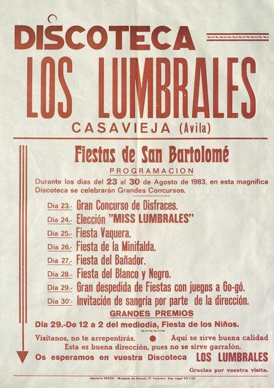 Discoteca Los Lumbrales, Casavieja (Ávila) [ [Material gráfico]: Fiestas de San Bartolomé, del 23 al 30 de agosto de 1983 : [programación].