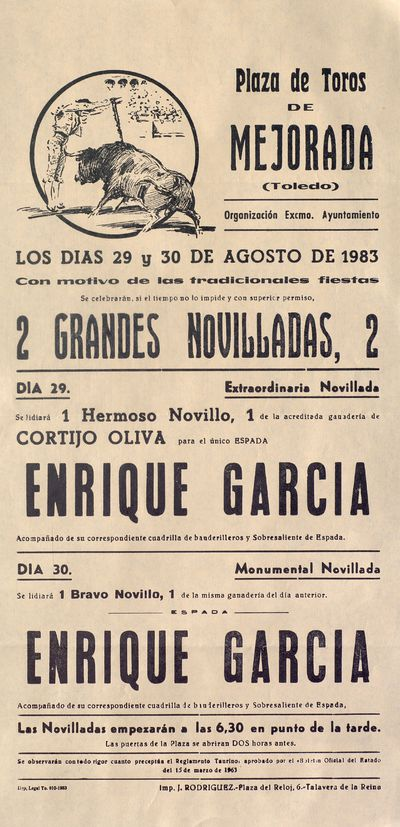 Plaza de toros de Mejorada (Toledo) [ [Material gráfico]: los días 29 y 30 de de agosto de 1983 : 2 grandes novilladas, 2.