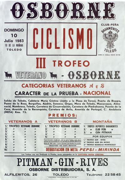 Ciclismo III Trofeo Veterano-Osborne [ [Material gráfico]: 10 julio 1983, Toledo : [programación].