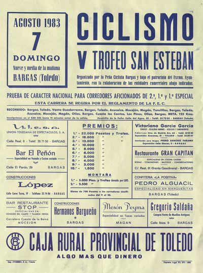 Ciclismo [ [Material gráfico]: V Trofeo San Esteban : Bargas (Toledo), 7 agosto 1983.
