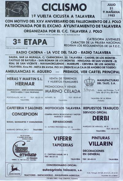 Ciclismo [ [Material gráfico]: 1ª Vuelta ciclista a Talavera con motivo del XXV aniversario del fallecimiento de J. Polo.