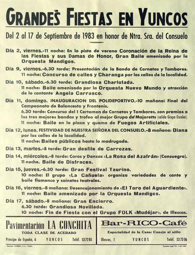 Grandes fiestas en Yuncos [ [Material gráfico]: del 2 al 17 de septiembre en honor de Ntra. Sra. del Consuelo : [programación].