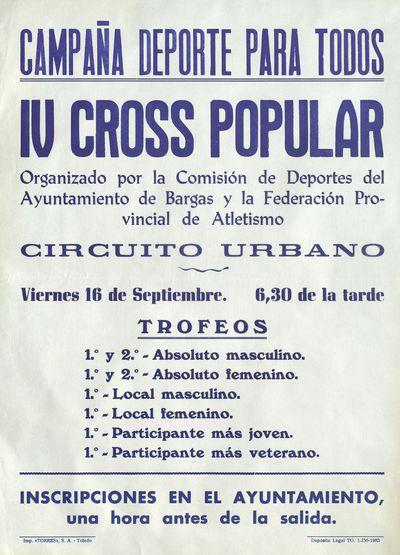 IV Cross Popular [ [Material gráfico]: 16 de septiembre : circuito urbano.