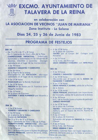 Programa de festejos [ [Material gráfico]: días 24, 25 y 26 de junio de 1983.