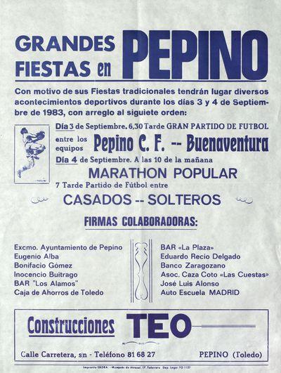 Grandes fiestas en Pepino [ [Material gráfico]Con motivo de sus fiestas tradicionales.