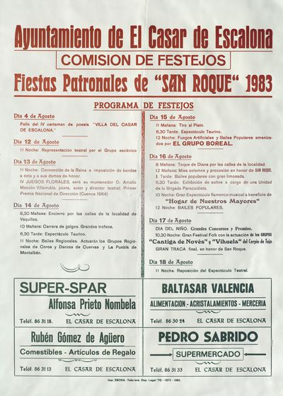 Fiestas Patronales de San Roque 1983 [ [Material gráfico]: [programación].