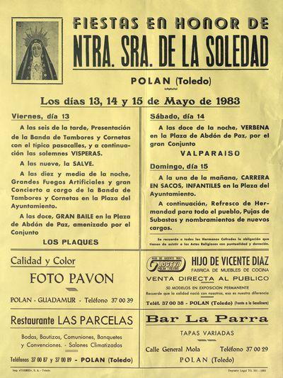 Fiestas en honor de Ntra. Sra. de la Soledad, Polán (Toledo) [ [Material gráfico]: días 13, 14 y 15 de mayo : [programación].