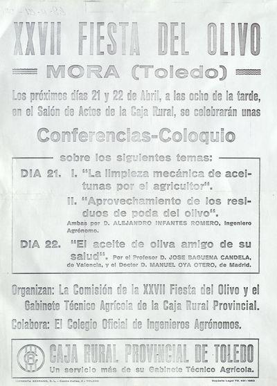 XXVII Fiesta del Olivo, Mora (Toledo) [ [Material gráfico]: Conferencias-Coloquio, 21 y 22 de abril de abril en el Salón de Actos de la Caja Rural.