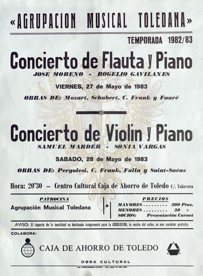 Agrupación Musical Toledana [ [Material gráfico]: Concierto de Flauta y Piano, viernes, 27 de mayo de 1983, Concierto de Violín y Piano, sábado, 28 de mayo de 1983.