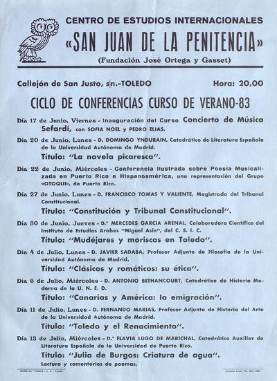 Centro de Estudios Internacionales San Juan de la Penitencia [ [Material gráfico]: [programación] : ciclo de conferencias curso de verano-83.