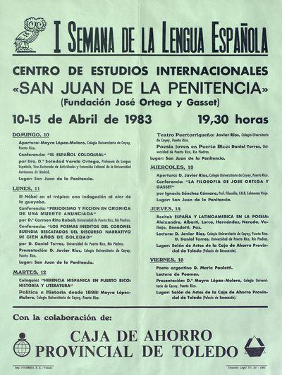 I Semana de la Lengua Española [ [Material gráfico]: Centro de Estudios Internacionales San Juan de la Penitencia, 10-15 de abril de 1983 : [programación].